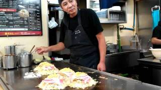 Master Hiroshima Okonomiyaki Chef Making Art