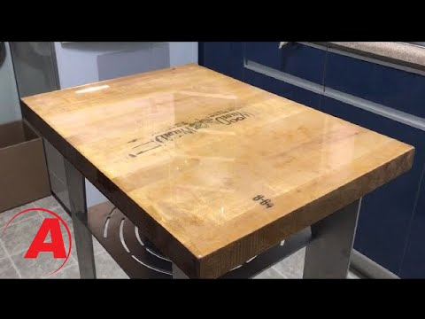 Old Cutting Block Repurposed Into Kitchen Cart With Amazing Clear Cast | Alumilite