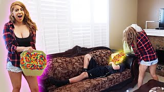 DUMPING 5,000 ORBEEZ ON HIM WHILE SLEEPING! *GONE WRONG*