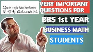 Very Important Question Of BBS 1st year Business Math student | Correlation & Regression