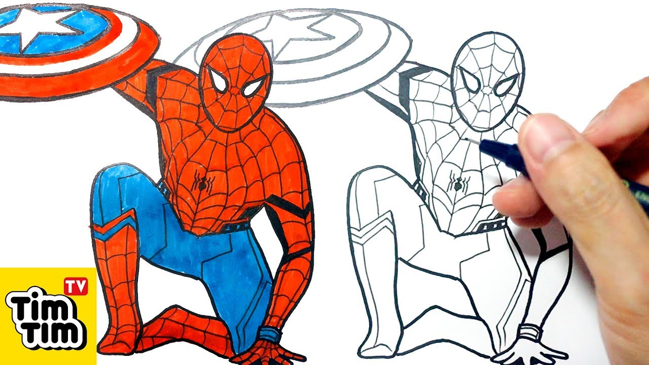 How to draw spiderman civil war easy step by step for kids art colors