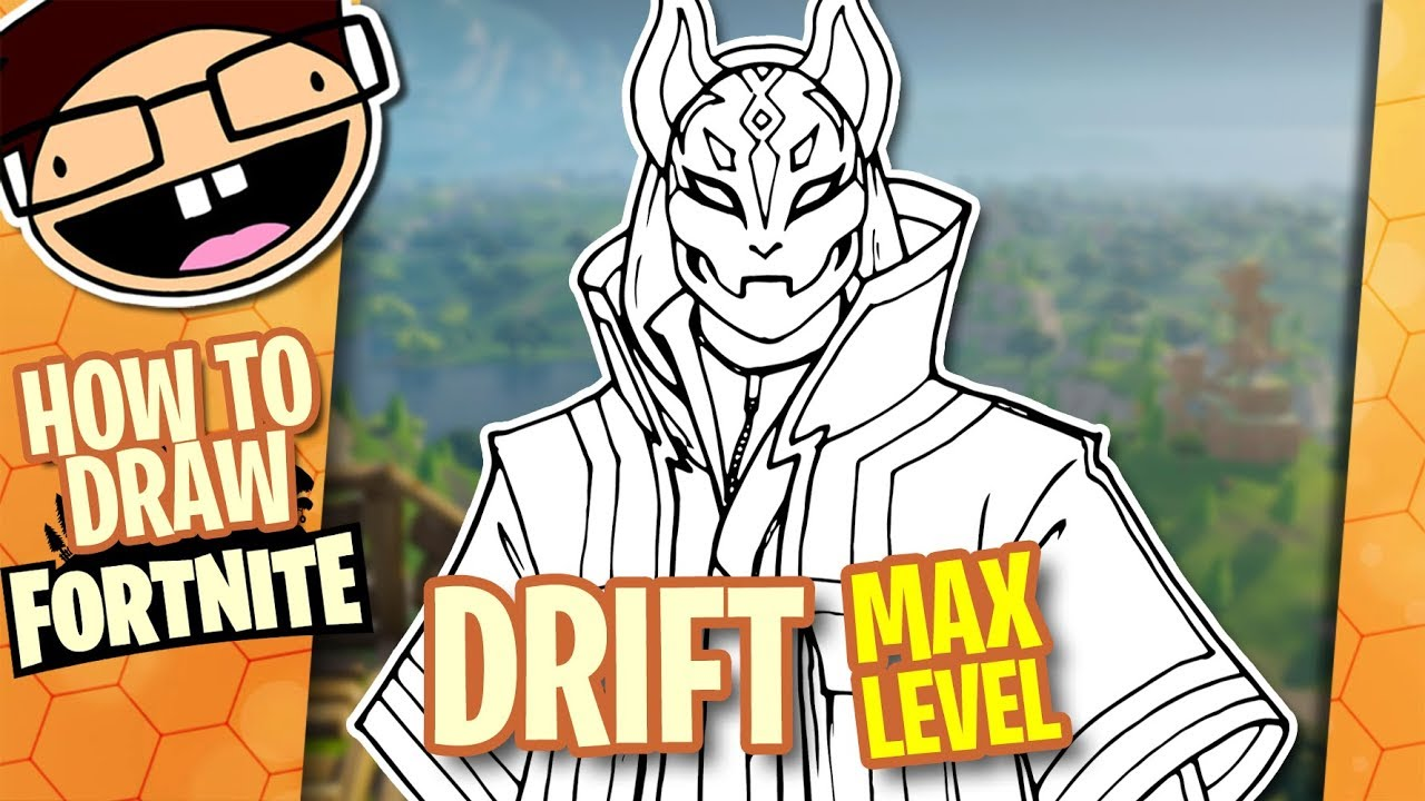 How to draw max level drift fortnite battle royale narrated easy step by step tutorial
