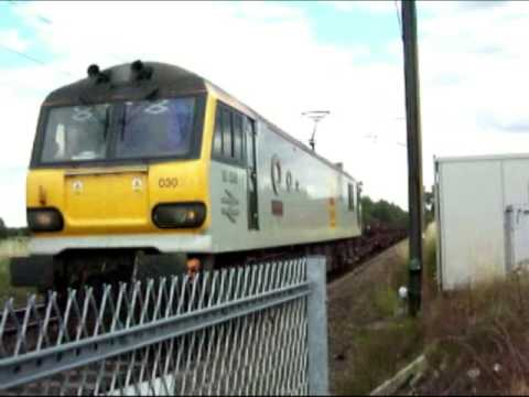 Class 92 workings through Newark on Trent 25th July 2009