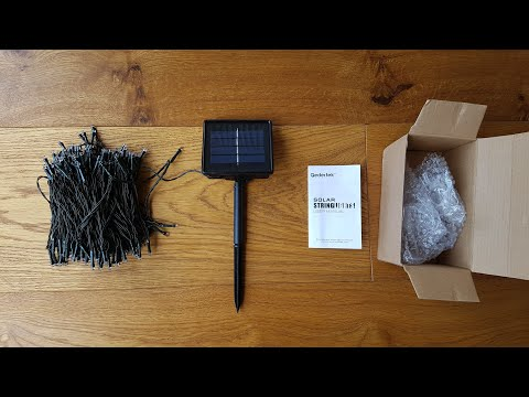 Unboxing and setup of Qedertek Solar String Lights 72ft 200 LED Waterproof Fairy String Lights