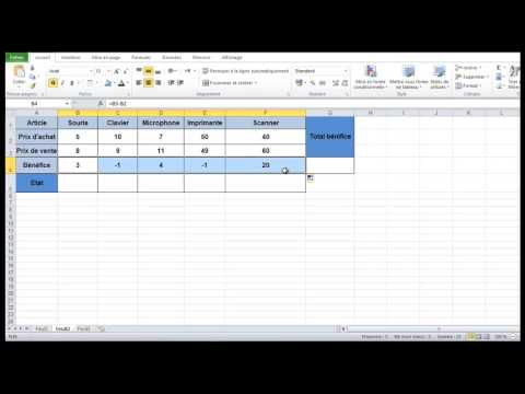 Excel calcule des bénéfices