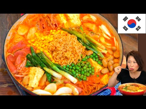 Korean Army Base Stew/Soup w SPAM & RAMEN Recipe + Mukbang Korean Sausage Stew Budae Jjigae 부대찌개