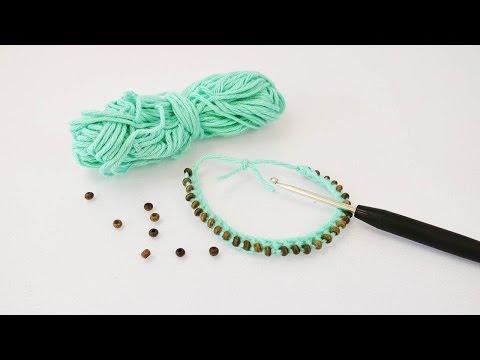 Armband häkeln mit Perlen Anleitung – DIY Armband mit Wolle für den Frühling Tutorial
