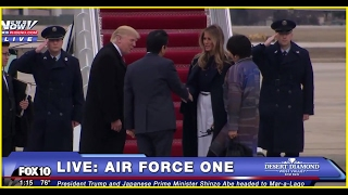 WATCH: President Trump Boards Air Force One With Japanese Prime Minister Shinzo Abe (FNN)