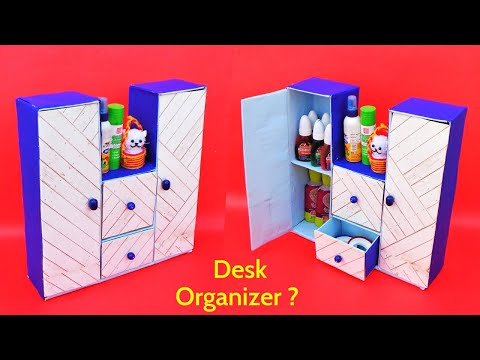 How to make Desk Organizer with waste Cardboard Box | Best out of waste | DIY room organizer