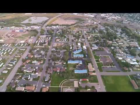 Drone Video Shot from North Evanston, Wyoming.  Elemetery School (park)