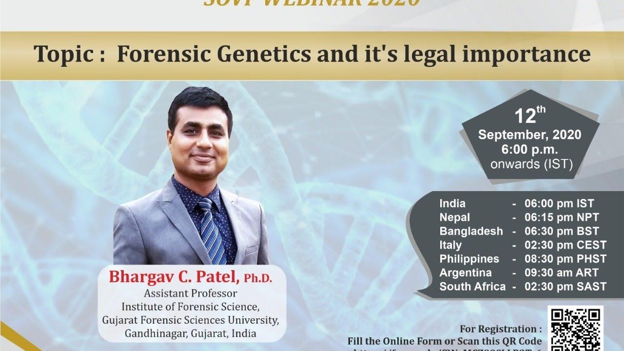 Sovf Webinar 2020 3 Forensic Genetics It S Legal Importance Youtube