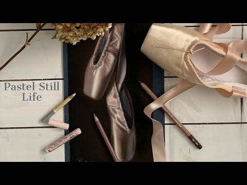 Drawing Pink Satin Ballet Shoes in Soft Pastel and Pastel Pencils  (Still Life Time Lapse)