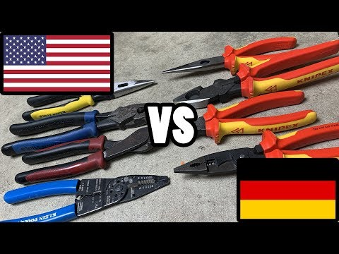 TOOL WAR I - US Made vs German Made - Which electrician tools are better, Klein or Knipex?