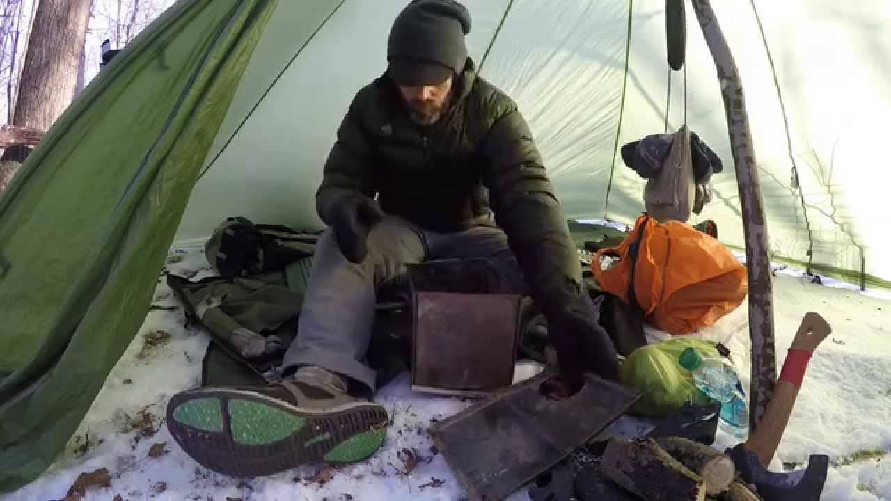 Hot Tent Wood Stove Bushcraft Overnight winter survival Backpacking. - YouTube & Hot Tent Wood Stove Bushcraft Overnight winter survival ...