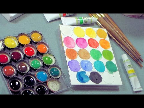 diy bottlecap palette and cheap watercolor supplies youtube