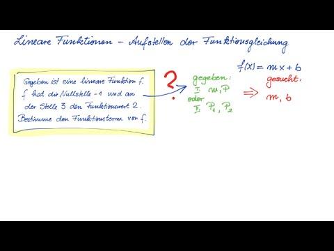 Lineare Funktionen - Aufstellen der Funktionsgleichung - YouTube