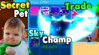 Trading my BEST Secret to get Sky Champion Secret Pet in Roblox Bubble Gum Simulator