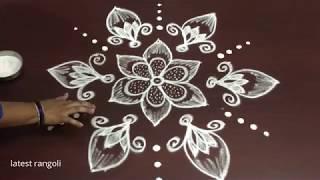 latest flower buds rangoli design with 7x4 middle dots || simple flower rangoli design
