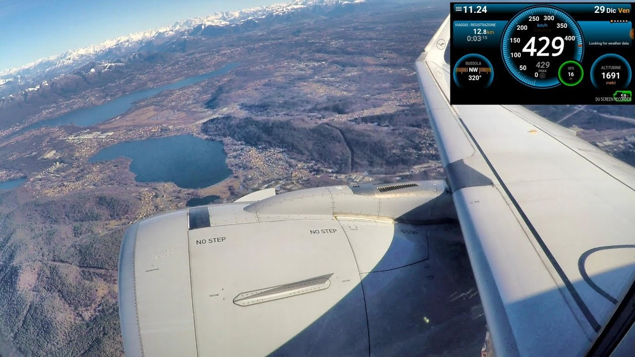 Takeoff Speed Recording  Airbus A320 Flying on Alps to Frankfurt