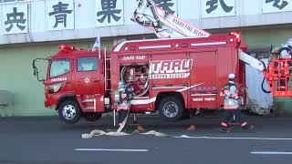 秋の火災予防運動 青果卸売市場で火災訓練画像