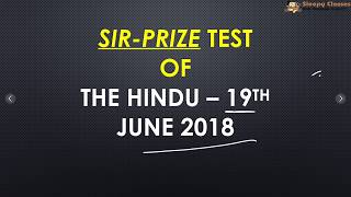 SIR-PRIZE TEST - 19TH JUNE 2018 for UPSC || IAS