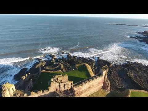 Tantallon Castle Scotland-Aerial video