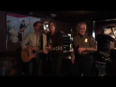 "Kevin Bacon joins Alexandria Police Chief Michael Brown at ""Karaoke with Cops"""