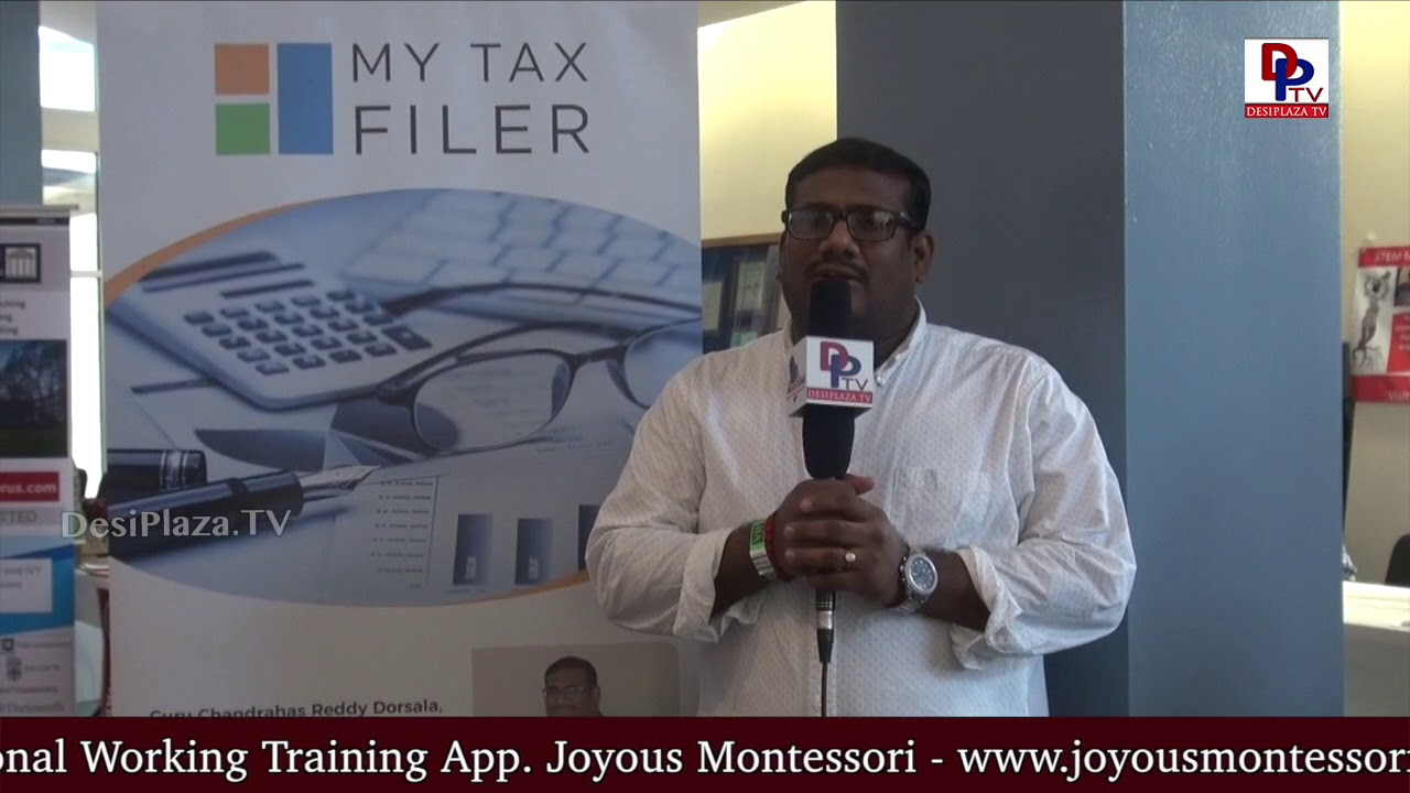 Guru from MyTax Filer Speaking to Desiplaza TV at TCA Austin Ugadi Celebrations - 2018