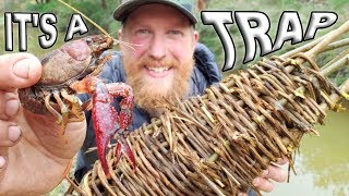 Primitive Catch and Cook Crawfish Trap Day 17 Of 30 Day Survival Challenge  Texas