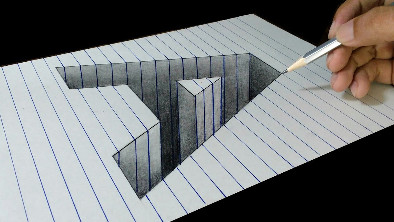 a letter hole in line paper - 3d trick art