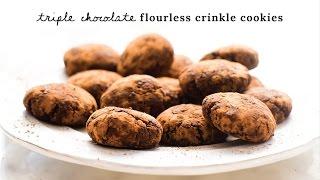 Triple Chocolate Flourless Crinkle Cookies vegan & refined sugar-free