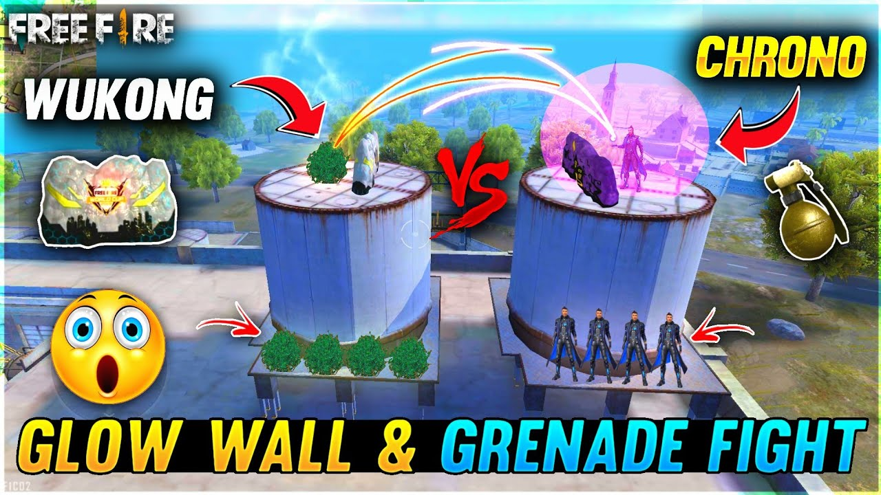 Chrono vs Wukong Only Grenade & Glow Wall Fight On Factory - 1 vs 1 Who Will Win? - Garena Free Fire