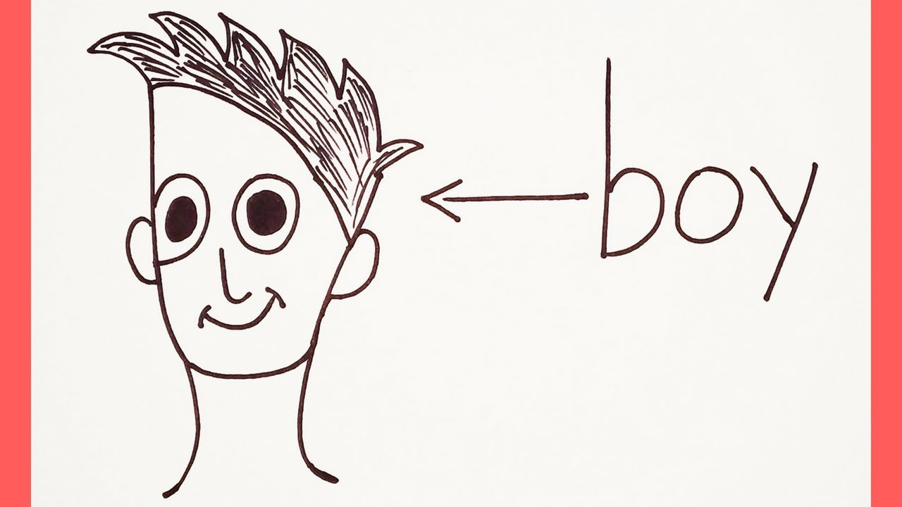 Very Easy How To Turn Word Boy Into A Cartoon Boy Drawing