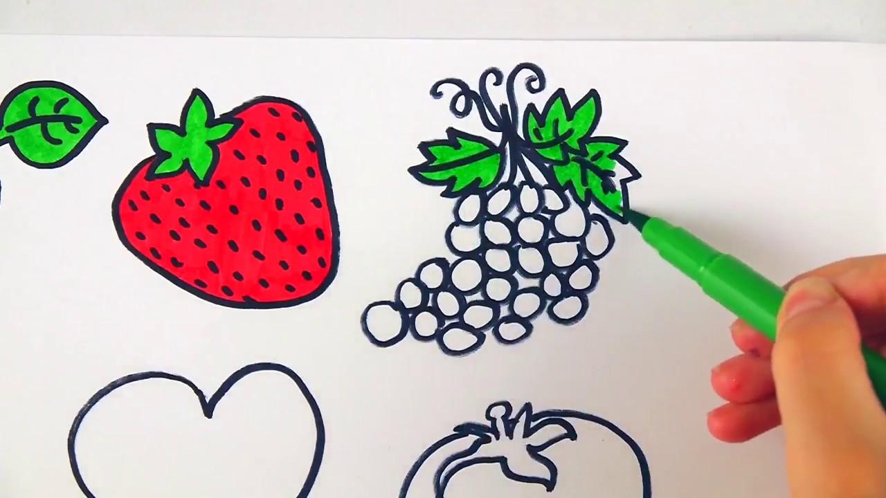كيفية رسم الفواكه والخضروات ألوان للأطفال Youtube