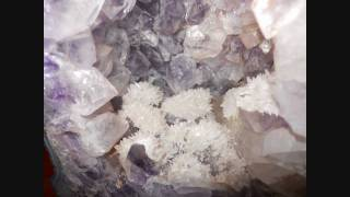 Unusual Amethyst Geode With Small White Crystals And Very Large White Crystals