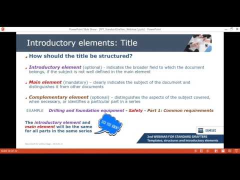 Templates, structures, introductory elements - standards drafters
