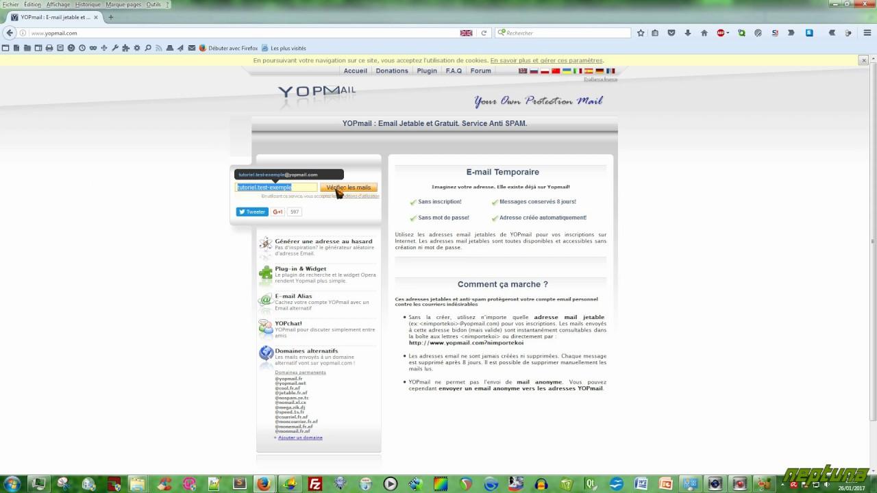 Créer une adresse e-mail jetable et anonyme avec Yopmail • Tutoriel  informatique