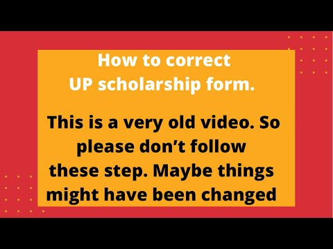 HOW TO CORRECTION UP SCHOLARSHIP FORM AFTER FINAL SUBMIT ? - YouTube - scholarship form