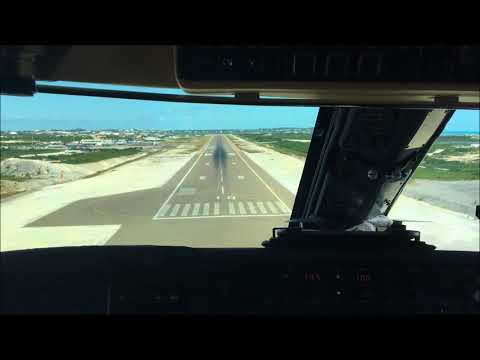 Gulfstream IV-SP Cockpit View Landing Turks and Caicos Providenciales MBPV