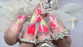 CARTOON HEARTS - VALENTINE ACRYLIC NAILS uñas de San valentín | ABSOLUTE NAILS