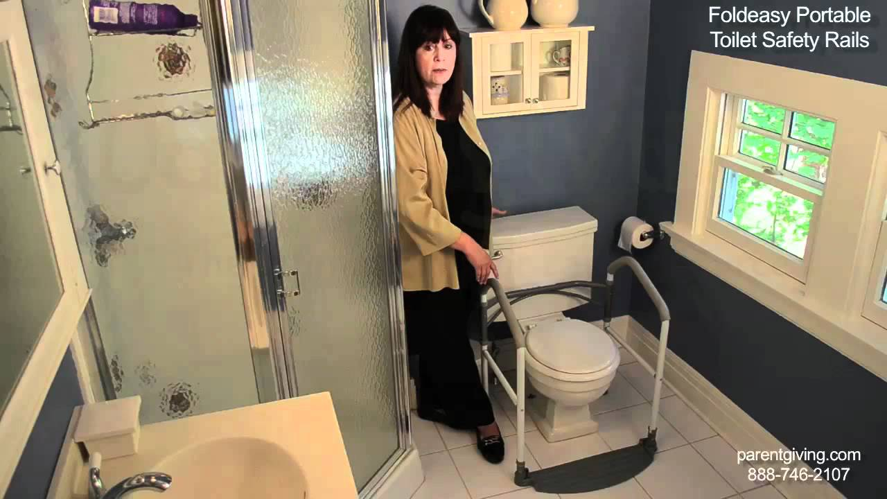 Foldeasy Portable Toilet Safety Rails - HRMBU2004 - YouTube