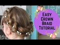 How to: Easy crown Braid updo hairstyle - pull through braid tutorial prom wedding bridesmaids