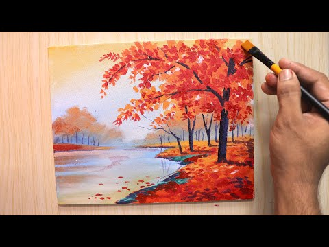Acrylic painting of Spring season landscape painting with cherry blossom tree