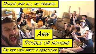 duhop aew double or nothing pay per view party and reactions vlog