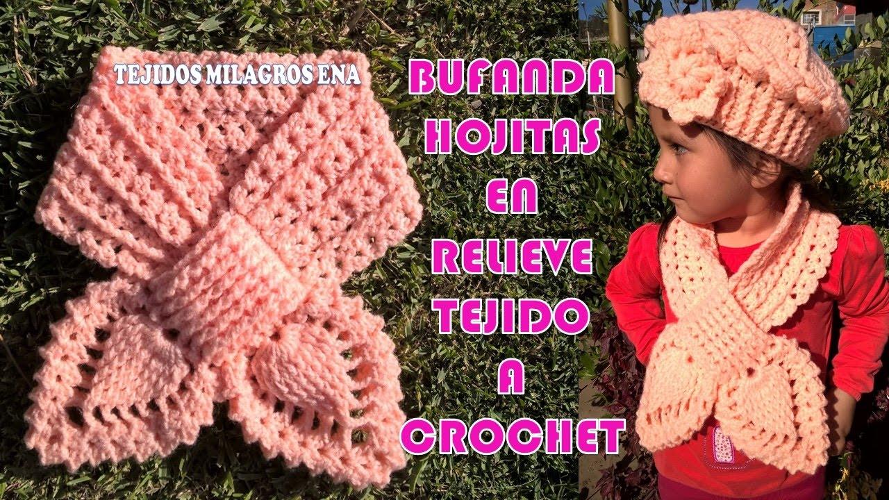 Bufanda, Chalina o Cuello Hojitas en Relieves tejido a crochet para ...