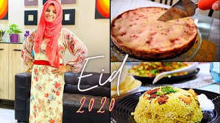 Eid-ul-Adha 2020 | Wearing Gown stitched from Saree | Brownie Strawberry Cheesecake