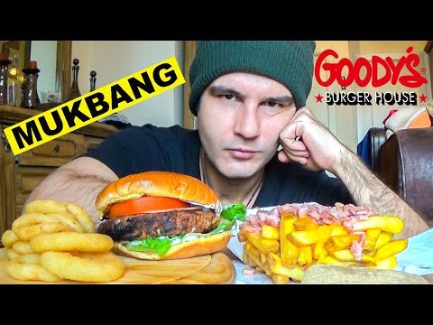 EXTREME GOLDEN BURGER ΜΕ ΠΑΤΑΤΕΣ COUNTRY STYLE (CHEDDAR ΣΩΣ ΚΑΙ ΜΠΕΙΚΟΝ) ΚΑΙ ONION RINGS MUKBANG