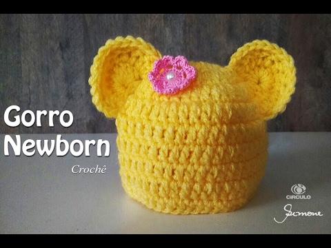 Gorro de Crochê para bebê Newborn  Professora Simone Eleotério