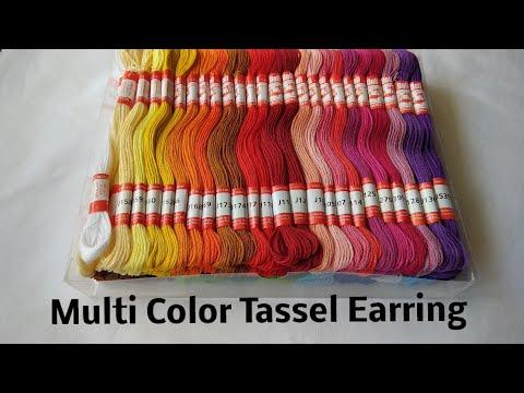 Multi colour Tassels Earring|| Embroidery thread tassel making|| CC 122