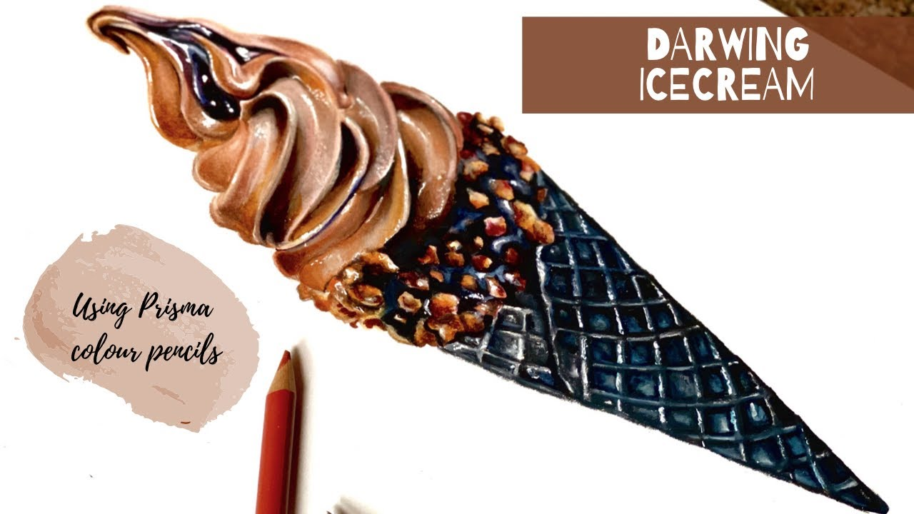 Ice cream Realistic drawing || How to draw an ice cream
